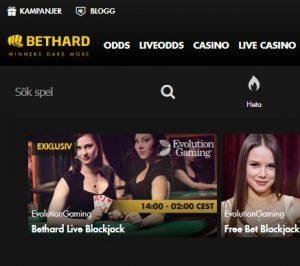 Spela exklusiv Live Blackjack på Bethard!